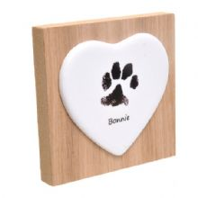 Paw Print Ceramic Heart on Wooden Block - Pet Print Keepsake
